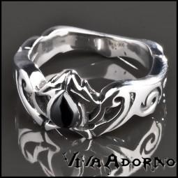 KoolKatana Edelstahl Ring Onyx Tribal Rockabilly Fingerring silber Gothic RS43