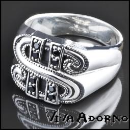 925 Silber Ring Dollar Zirkonia schwarz Biker Rock Daumenring Buck SR30