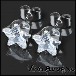 1 Paar Ohr Stecker Zirkonia Kristall Stern Ohrringe Edelstahl Sterne WS16