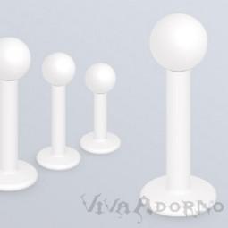 1,2-1,6mm Labret Lippen Piercing weiß Stecker Tragus Helix Ohr Kugel Z331